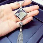 Long Chain Tassel Sweater Crsytal Pendant Necklace - Trinket Fascinations Jewelry