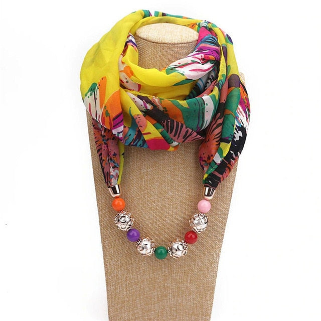 Pearl Bead Chiffon Scarf Ethnic Necklace - Trinket Fascinations Jewelry
