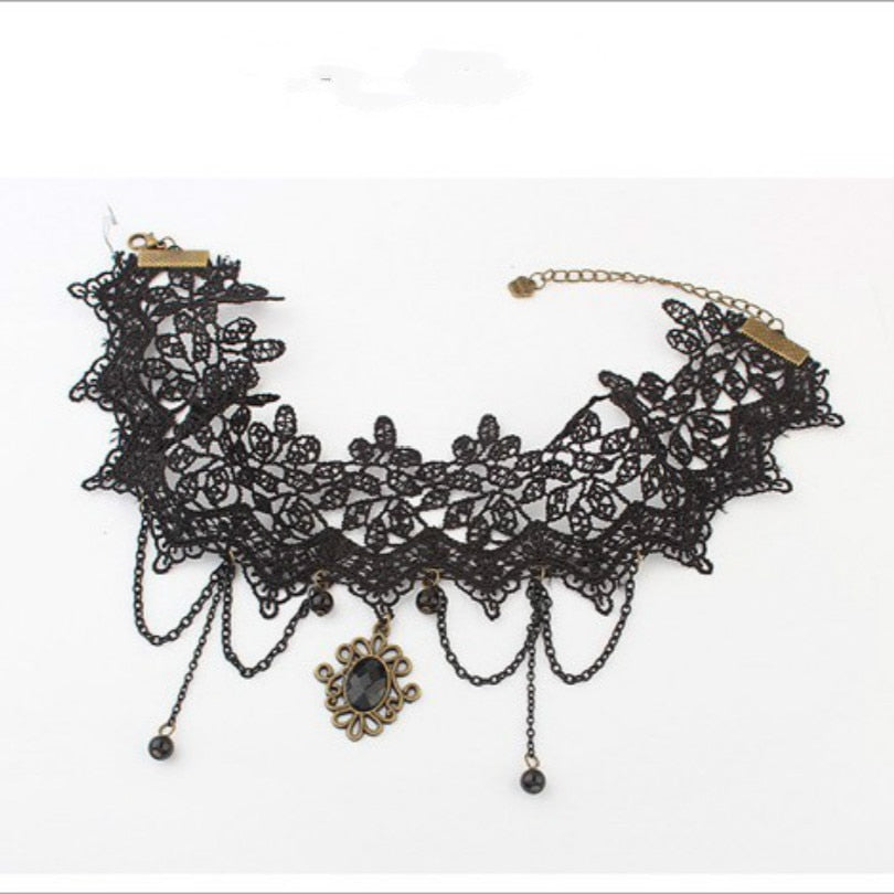Vintage Cutout Lace Tassel Necklace - Trinket Fascinations Jewelry
