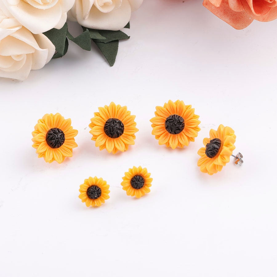 Sunflower Stainless Steel Stud 15mm 18mm Resin Cabochon Earrings