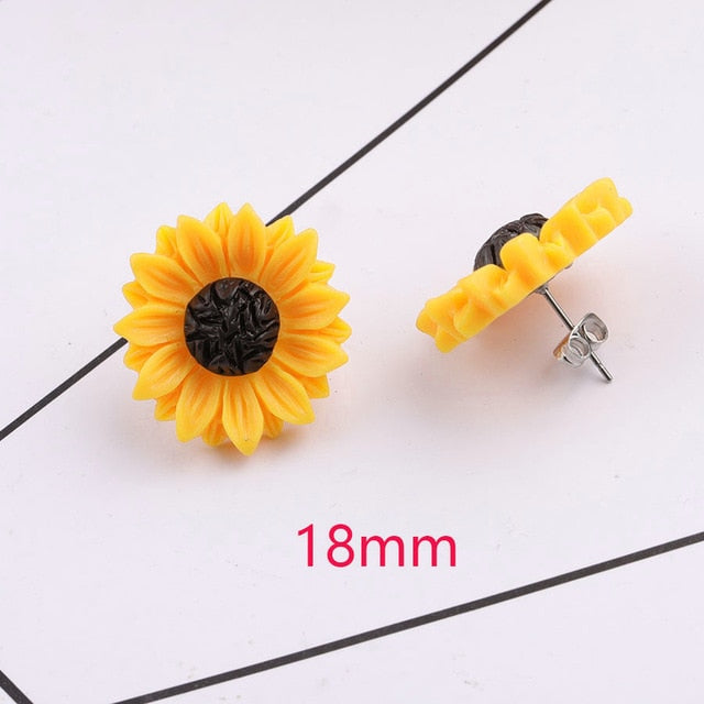 Sunflower Stainless Steel Stud 15mm 18mm Resin Cabochon Earrings - Trinket Fascinations Jewelry