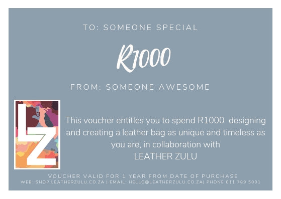 Leather Zulu Gift Card | R1000-voucher-Leather Zulu