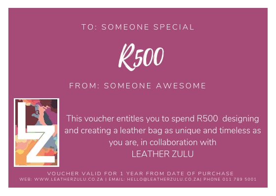 Leather Zulu Gift Card | R500-voucher-Leather Zulu