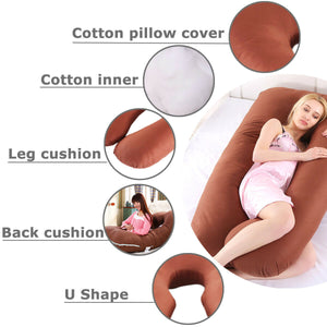 Large U Shaped Contoured Body Pregnancy Nursing Maternity Pillow Cozy Comfort