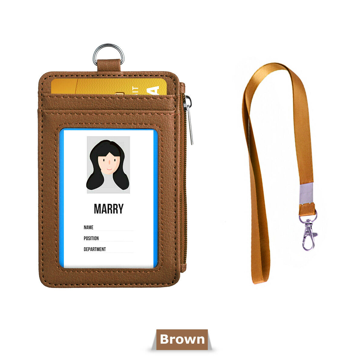 Business Office Students ID Card Badge Holder PU Leather Case With Neck Strap