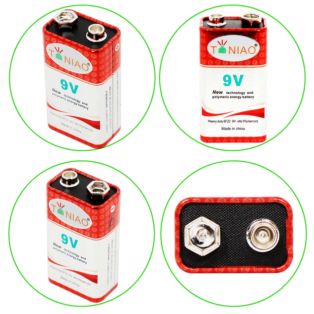 100 PCS 9V 6F22 9 Volts Heavy Duty 0% Mercury Battery