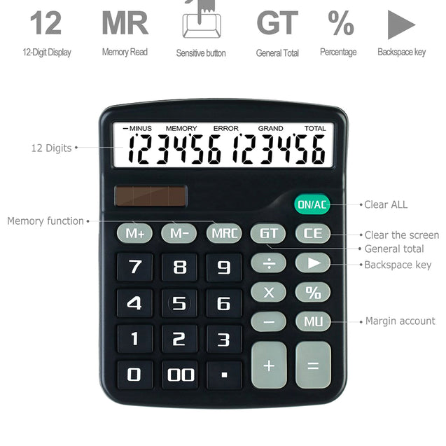 Solar Desktop Calculator 12-Digit Basic Business Home Standard Large Display