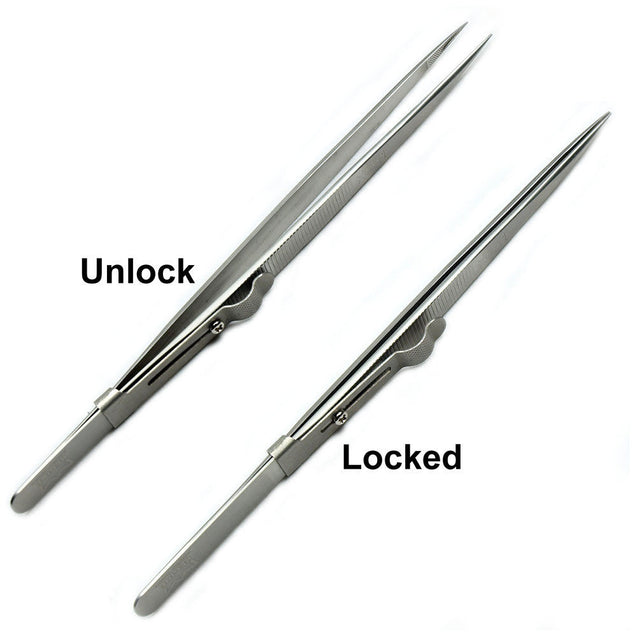 Diamond Gemstone Tweezers with side lock Indented Serrated Tips Stainless Steel - Anyvolume.com