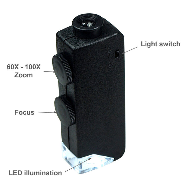 Mini 60X - 100X  Zoom Lighted Microscope Jewelers Loupe Magnifying Glass - Anyvolume.com