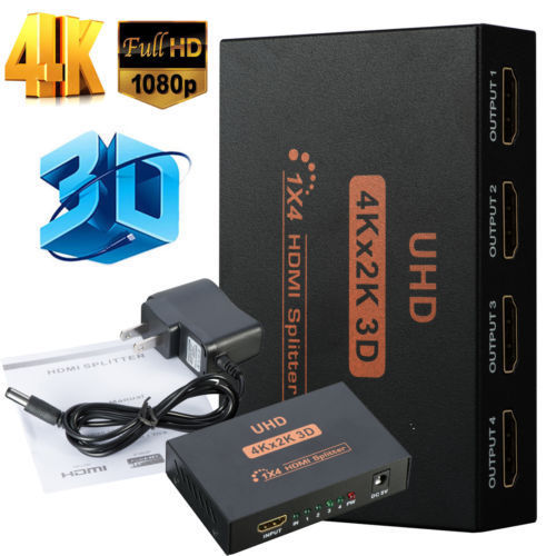 Ultra HD 4K 4 Port HDMI Splitter 1x4 Repeater Amplifier 1080P 3D Hub 1 In 4 Out - Anyvolume.com