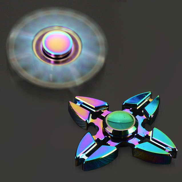 Color Rainbow Aluminum Alloy Tri Hand Finger Spinner Fidget EDC Desk Toy Gyro 04 - Anyvolume.com