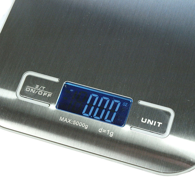 11lb x 0.05 oz Slim Digital Kitchen Scale Stainless Steel 5Kg x 1g Food / Postal - Anyvolume.com