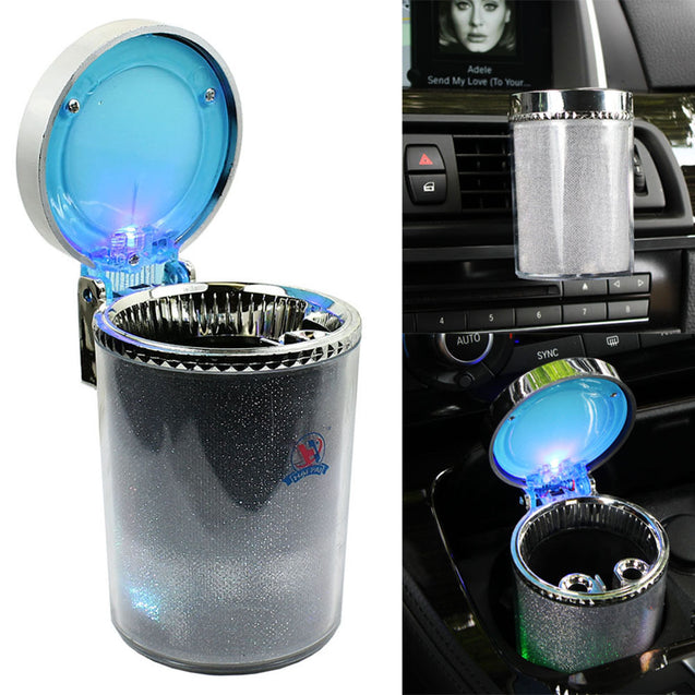 Portable Car Travel Cigarette Cylinder Ashtray Holder Cup - Colorful LED Light - Anyvolume.com