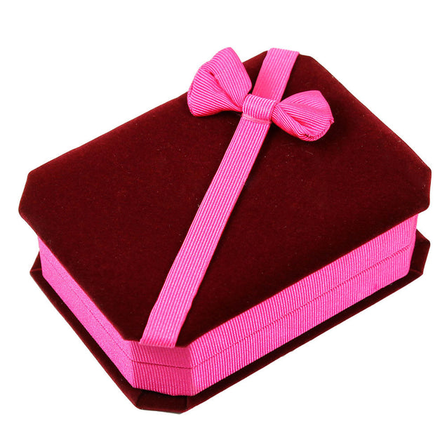 Two Deluxe Burgundy Pink Velvet - Satin Bow Pendant Necklace Jewelry Gift Boxes - Anyvolume.com