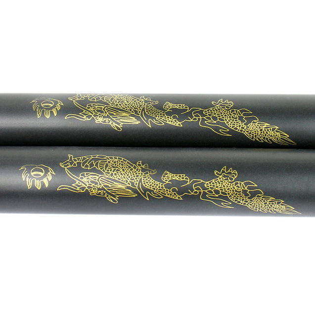 Foam Nunchucks Nunchaku Dragon Pattern for Martial Art Karate Training - Black