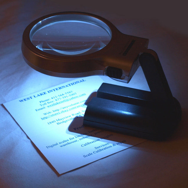 "3X Illuminated Magnifier 3"" Lighted Magnifying Glass LED Folding Stand - Anyvolume.com"