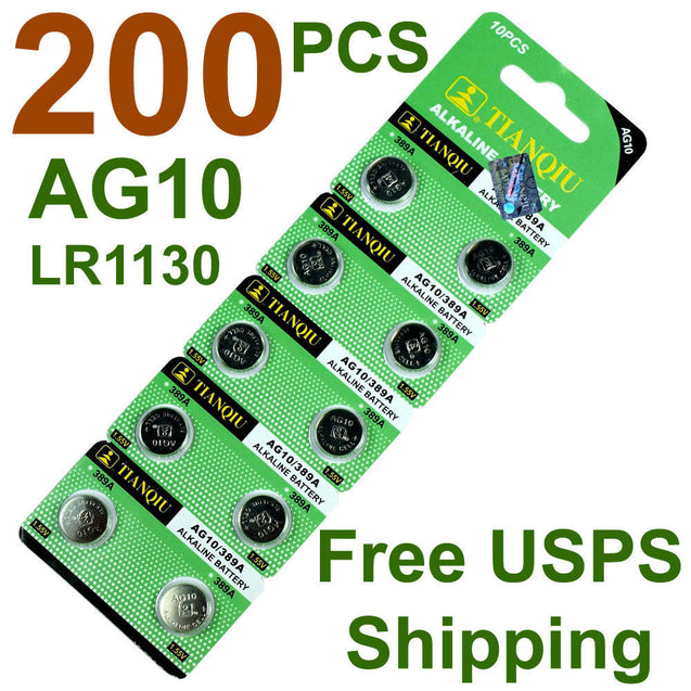 200 PCS  LR1130 AG10 389 Alkaline Battery 1.5V Button Cell for Watch Calculator - Anyvolume.com