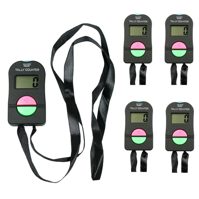 5X Digital Tally Counters Counts Up or Down with Long Strap & Audio Confirmation - Anyvolume.com