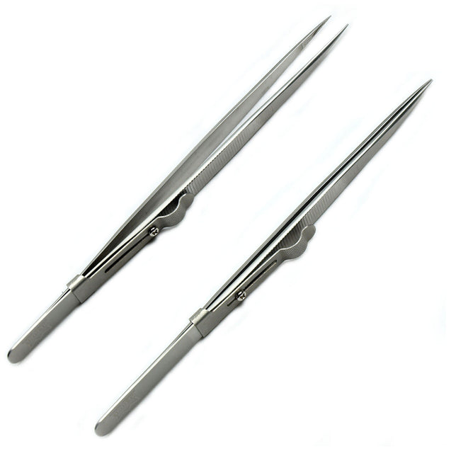 10 PCS Diamond Gemstone Tweezers side lock indented serrated Tips easy pick up