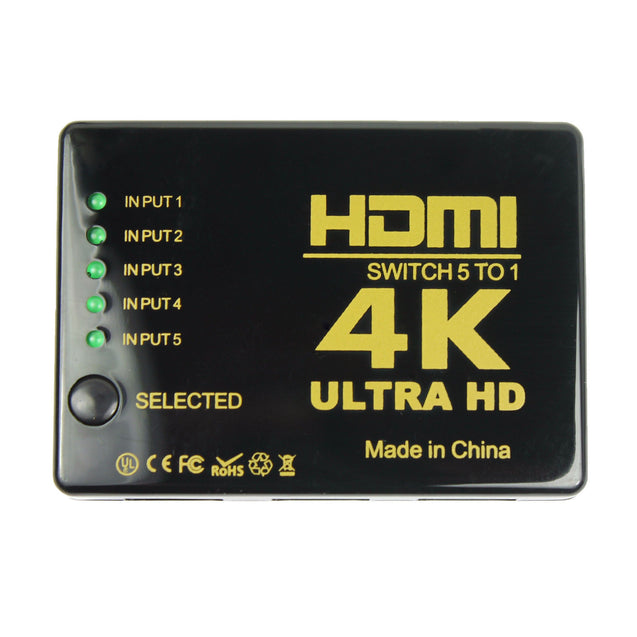 Ultra HD 4K 5 Port HDMI Switch Box Splitter 3D 1080P IR Remote Control HUB - Anyvolume.com