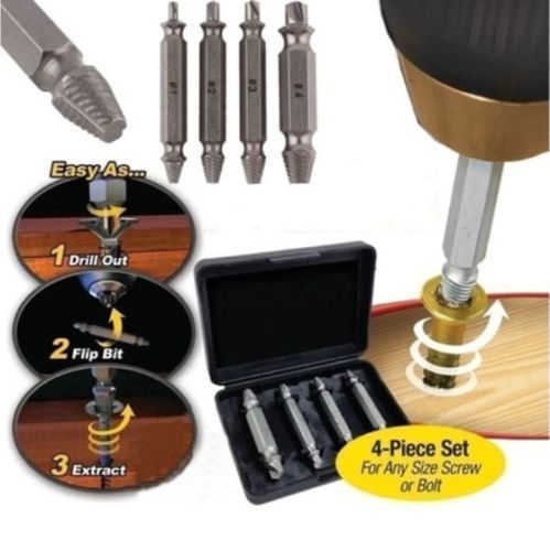 New Speed Out Screw Extractor Drill Bits 4 PCS Tool Set Broken Bolt Remover - Anyvolume.com