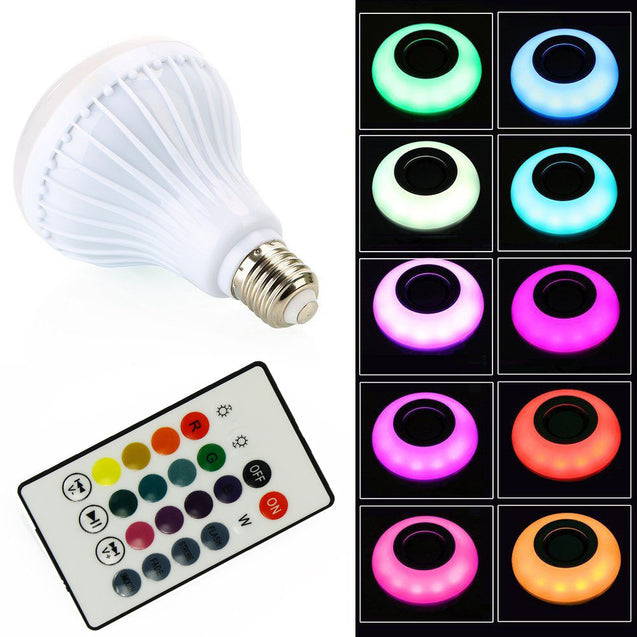 12W E27 LED RGB Wireless Bluetooth Speaker Bulb Light Music Playing Lamp Remote - Anyvolume.com