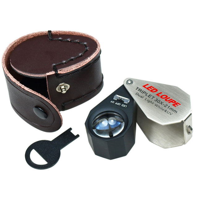 30X Magnification 21mm Triplet Jewelers Loupe with LED - UV Dual illumination - Anyvolume.com