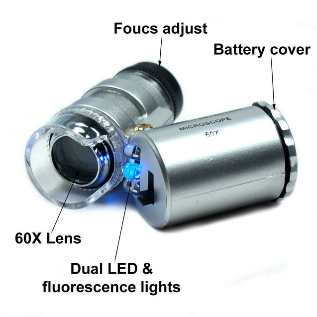 Mini 60X Jewelers Loupe / Magnifier with LED & Fluorescence Ultra Violet Lights - Anyvolume.com