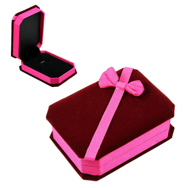 Deluxe Velvet Pendant Necklace Jewelry Gift Box Burgundy Pink with Satin Bow - Anyvolume.com