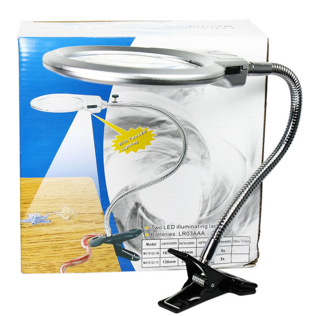 107mm 2.25X 5X Flexible Magnifying Lamp Lighted Desk Reading Magnifier w/ Clamp