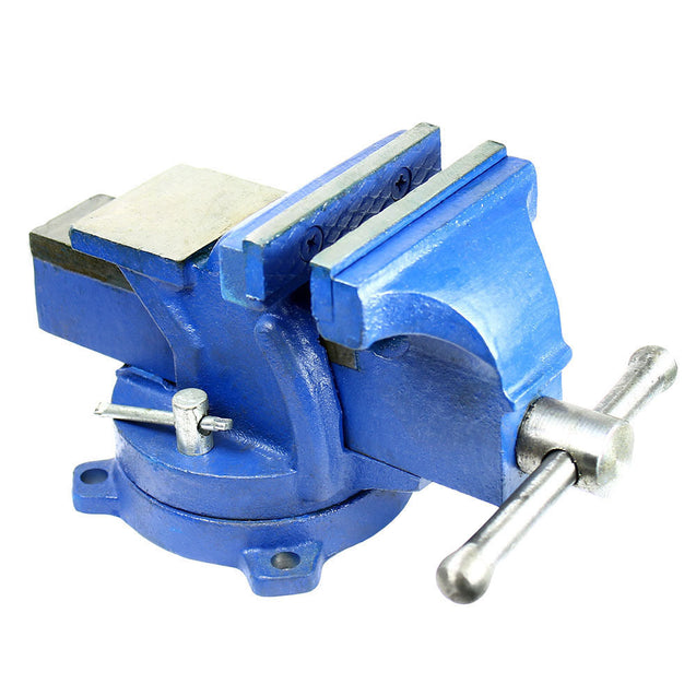 "4"" Heavy Duty Steel Bench Vise with Anvil - Swivel Locking Base Table Top Clamp - Anyvolume.com"