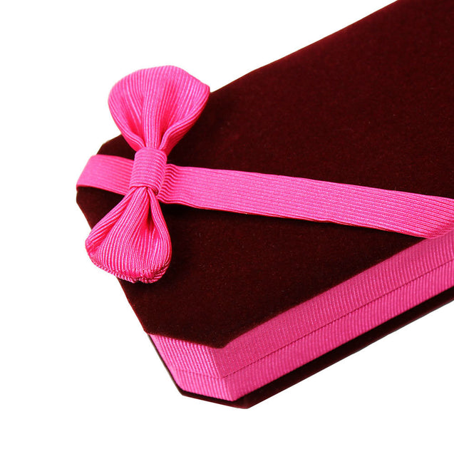 Velvet Necklace Box - Deluxe Jewelry Gift Box - Burgundy with Pink Satin Bow - Anyvolume.com