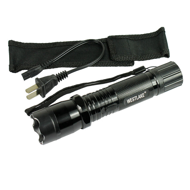 All Metal Stun Gun 48 Million Volt Rechargeable with LED Flashlight + Case - Anyvolume.com