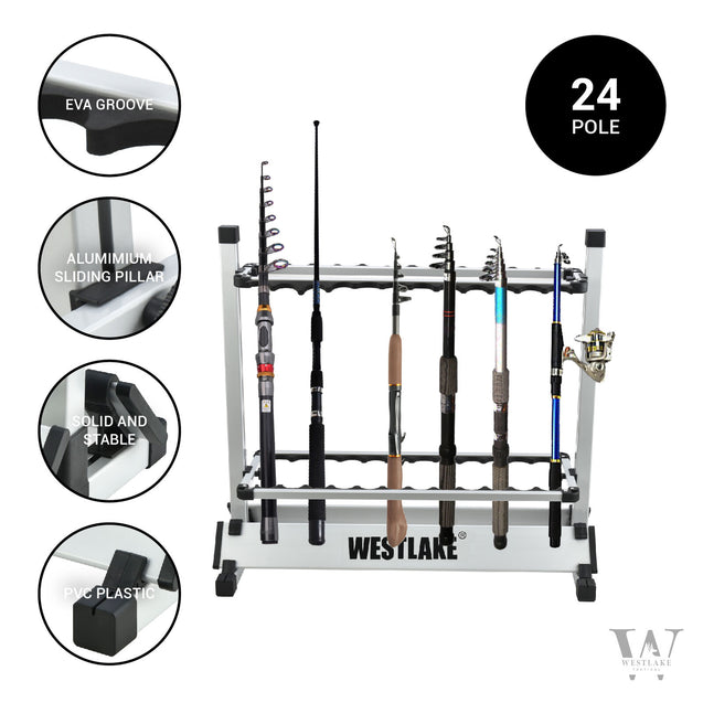 24 Rod Fishing Pole Holder Aluminum Alloy Stand Rack Storage Portable Tool US