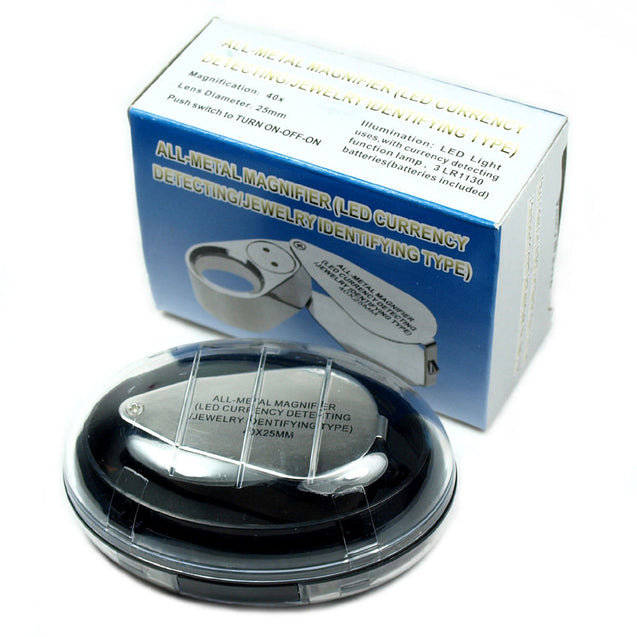 Illuminated 40X Jewelers Loupe  40X25mm Magnifier with LED & UV Lights - Anyvolume.com