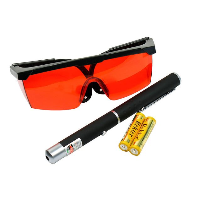 High Power 5mW Green Dot Laser Pointer + 532nm Tinted Laser Saftey Glasses - Anyvolume.com