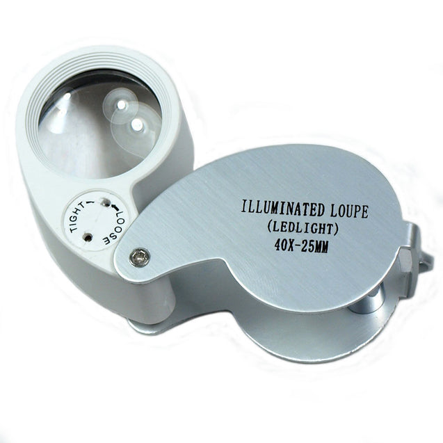 Mini Illuminated 40X - 25mm Jewelers Loupe / Magnifier with LED Lights - Anyvolume.com