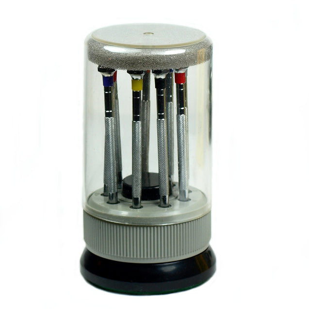 Clearance Precision Watch Screwdriver Set of 9 in Turret Holder w/ Extra Blades - Anyvolume.com