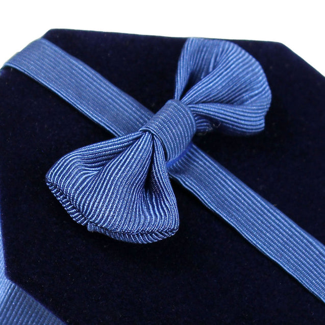 Two Deluxe Blue Velvet - Satin Bow Ring Jewelry Display Presentation Gift Boxes - Anyvolume.com