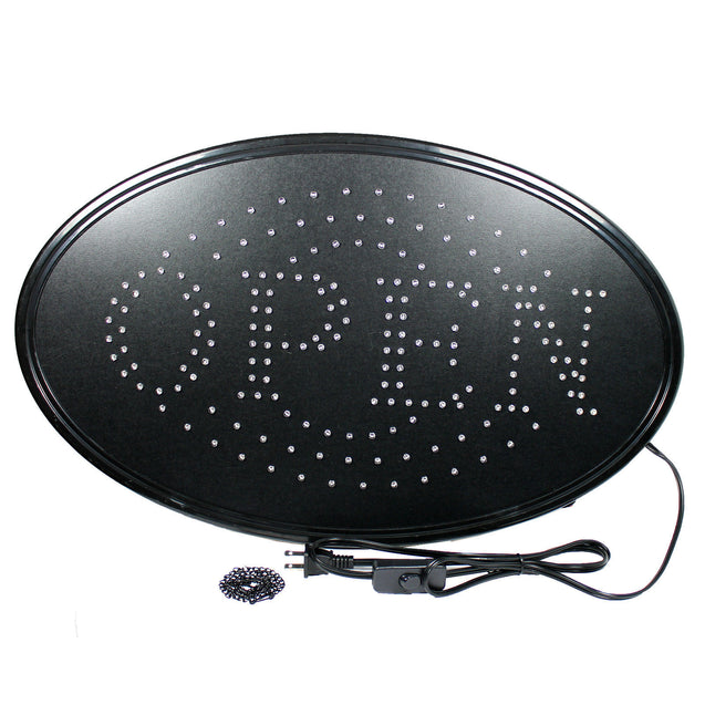 "Large 23"" x 14"" Bright LED Neon OPEN Business SIGN with Motion Animation - Oval - Anyvolume.com"