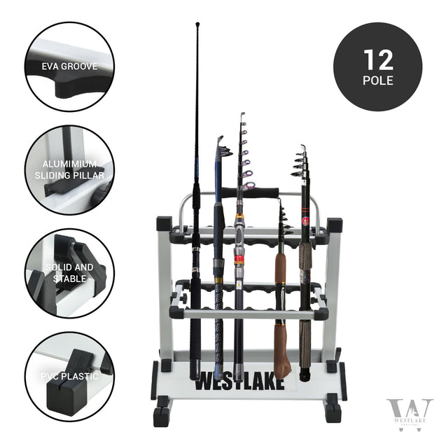 Fishing Pole Holder Aluminum Alloy Rack Stand Portable Storage Tool 12 Rods