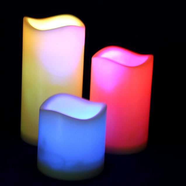 "Set of 3 Color Changing Flameless LED Candles with Remote Control 3"" 4.5"" 6"" - Anyvolume.com"
