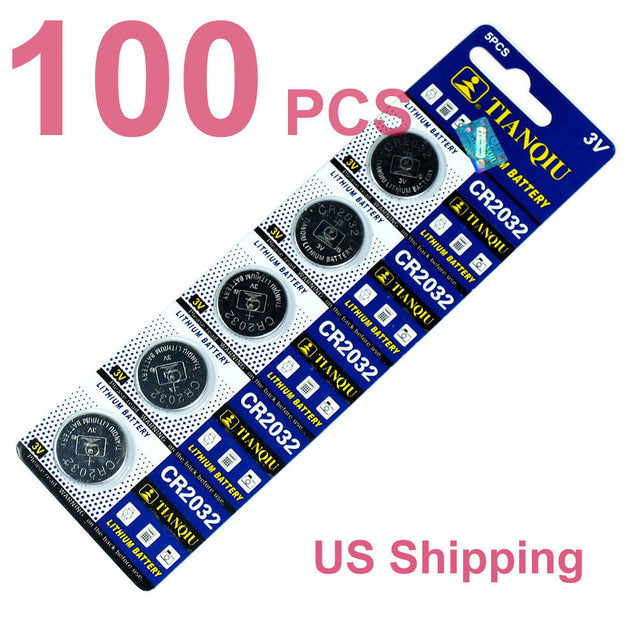 100 PCS CR2032 Lithium Battery 3V Button Cell for Digital Scales remote controls