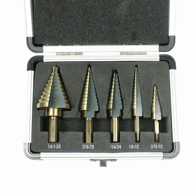 5X HSS Cobalt Multiple Hole Cut 50 Sizes Step Drill Bit Set Kit w/ Aluminum Case