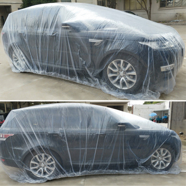 XL Extra Large Full Size Car Cover Water Dust Dirt Proof Clear PE Plastic - Anyvolume.com