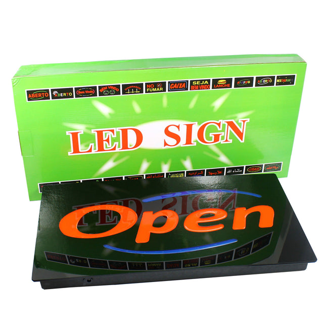 LED Neon OPEN Business SIGN for Bar Restaurant Cafe -  Horizontal - Upscale - Anyvolume.com