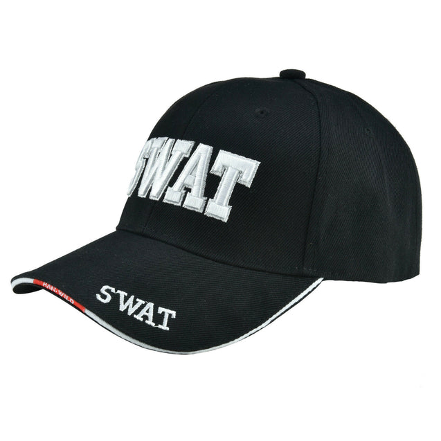 ALL Black SWAT Team Police Officer Embroidered Adjustable Hat Baseball Cap