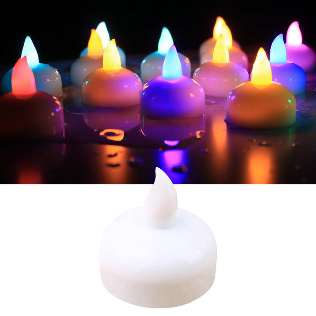 Flameless MultiColor Flickering LED Candle Water Sensor Floating Party Holiday - Anyvolume.com