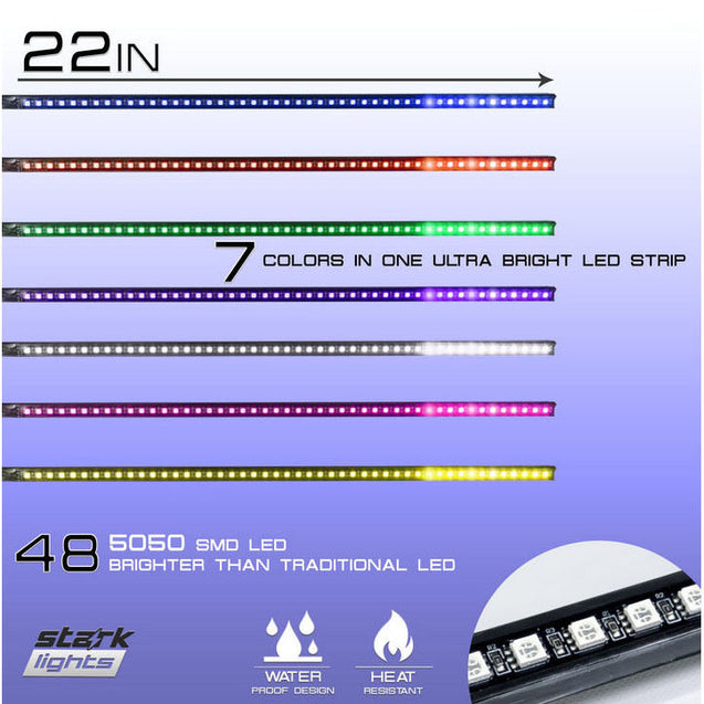 "22"" Long 48 LED RGB Scanner Flash Car Strobe Knight Rider Kit Light Strip NEW - Anyvolume.com"