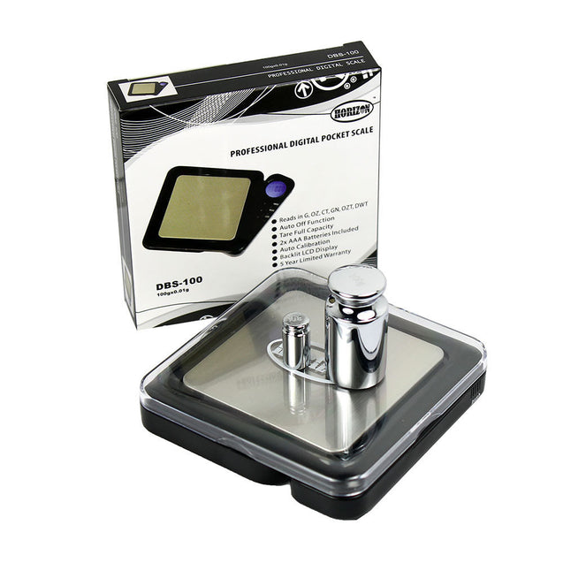 Horizon DBS-100 Digital Pocket Scale 100g x 0.01g with Calibration Weights - Anyvolume.com